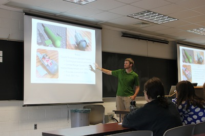 Presenting station keeping research to a group of visiting high school students interested in engineering.